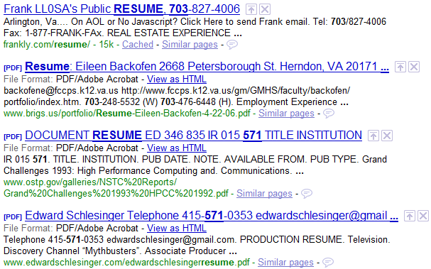 boolean resume search