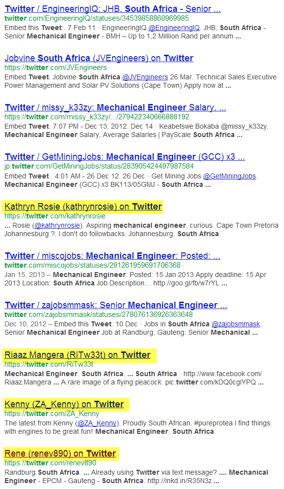 Google X-Ray Search of Twitter for Mechanical Engineers in South Africa 1
