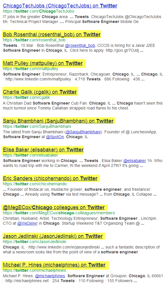 Google X-Ray search of Twitter for Software engineers in Chicago