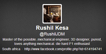 Twitter bio example South Africa Mechanical Engineer