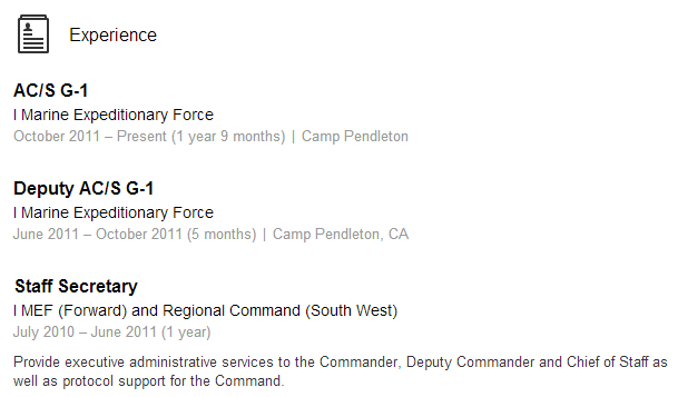 Veteran Sourcing LinkedIn Example 1 MEF Marine Marines