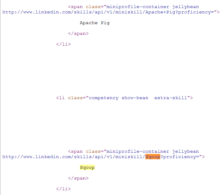 Google LinkedIn Cached Result Sqoop Page Source Code