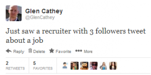 My tweet about seeing a recruiter with 3 followers tweet about a job opeing