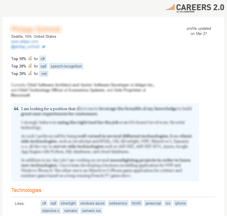 Stack Overflow Job Seeker Profile